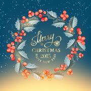 Christmas mistletoe wreath. Stock Illustration