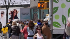 NYC CROWDED STREET YOUNG MAN CHECKING PHONESLOW MOTION Stock Footage