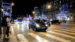 Avenue des Champs-Elysees decorated with Christmas illumination, Paris, France. Stock Footage