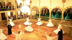 Whirling dervishes dance, turn, mystical, religious ritual, ceremony Sama, Sema Stock Footage