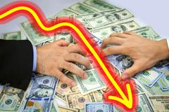 Business men's hands grabbing over money Stock Illustration