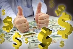 Hands with thumbs up, money and dollar signs floating Stock Illustration