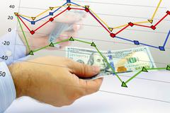 Hands counting money with financial graph Stock Illustration