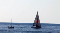 Two yachts on the Mediterranean sea Stock Footage