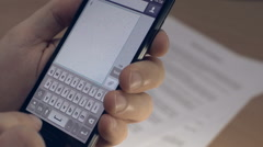 Smartphone Typing Message Stock Footage