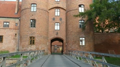 Frombork town, Poland. Medieval walls surrounding catholic cathedral Stock Footage