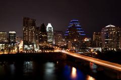 downtown austin texas cityscape at night - stock photo