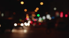 Night city traffic small size bokeh, beautiful defocusing city lights - stock footage