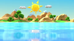 Low polygonal cartoon island Stock Footage