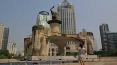 Wide Side Shot of Five Elephant Statue in Nanning, China Stock Footage