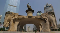Wide Shot of Five Elephant Statue - Nanning, China Stock Footage