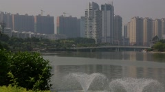 Wide Shot Overlooking Nanning, China Skyline Stock Footage