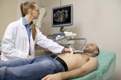 Cardiac ultrasound examination Stock Photos