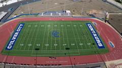 Aerial of football field Stock Footage
