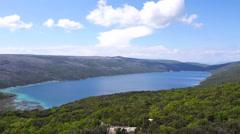 Aerial - slowly flying above green vegetation towards lake Vrana, Cres, Croatia Stock Footage