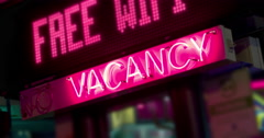 Vacancy Sign at Hotel in city 4k Stock Footage