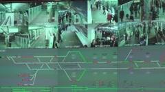 Multi camera video surveillance subway - 1080p - stock footage