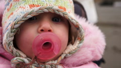 Baby In Cold Weather Stock Footage