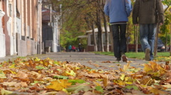 People walking on the sidewalk in autumn Stock Footage