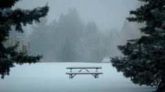Picnic table in Winter Stock Footage