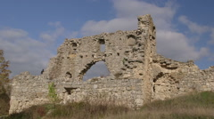 Ruins of the medieval Mangup Kale Cave Town on plateau in Crimean mountains Stock Footage