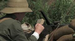 WW1 Austrian soldier machine gun - stock footage