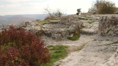 Ruins of a medieval fortress Mangup Kale Cave Town in Crimean mountains Stock Footage