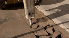 Asphalt demolishing with jackhammer Stock Footage