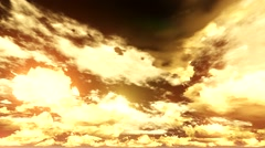Golden sky with slow moving clouds Stock Footage