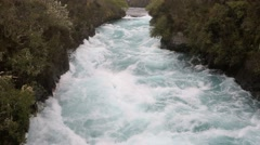 Whitewater rapids in the narrow gorge above Huka Falls Stock Footage