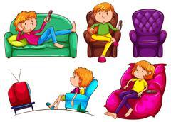 Lazy people Stock Illustration