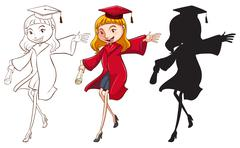 Stock Illustration of A girl graduating