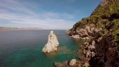 Aerial view of cliff coastal landscape. beach vacation background Stock Footage