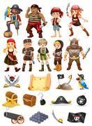 Pirates and vikings - stock illustration
