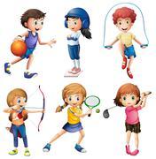 Kids playing sport - stock illustration