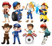 Kid's jobs Stock Illustration