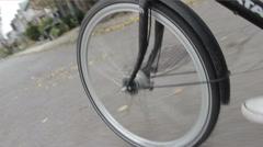 Bike wheel in motion Stock Footage