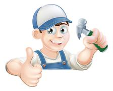 Claw Hammer man over sign thumbs up Stock Illustration