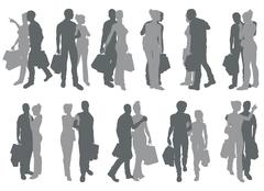 Shopping couple silhouettes Stock Illustration
