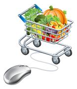 Stock Illustration of Trolley mouse grocery vegetables concept