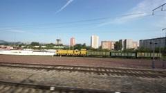 City of Krasnoyarsk view from moving train window Stock Footage