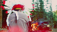 native american watch fire - stock footage