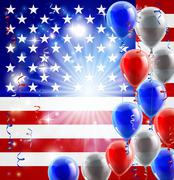 USA 4th july balloons background Stock Illustration