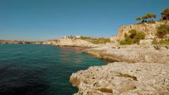 Travel destination background of coastal stone seascape view Stock Footage