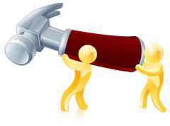 Workmen and giant hammer - stock illustration