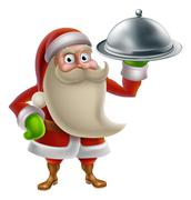 Cartoon Santa Cooking Christmas Dinner - stock illustration
