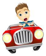 Cartoon man driving fast car Stock Illustration