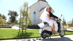 Bride And Groom Off To Honeymoon Stock Footage