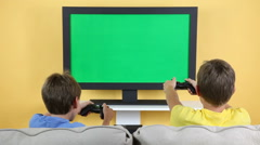 Children Playing Video Game Stock Footage