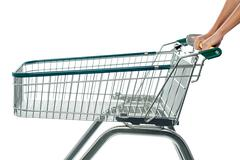 Empty shopping cart, add to cart. - stock photo